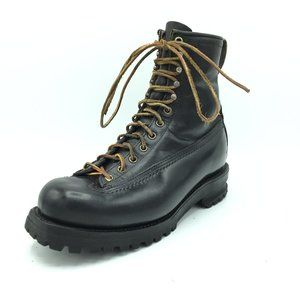 Vintage Mens Leather Lace Up Boots Metal Heels 7